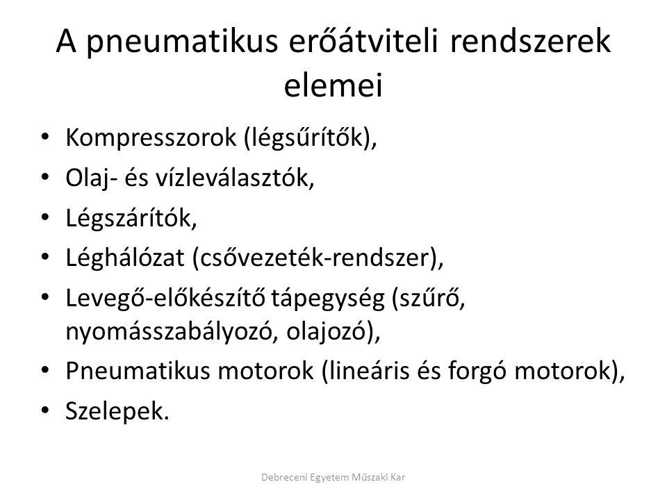 A pneumatikus erőátviteli rendszerek elemei