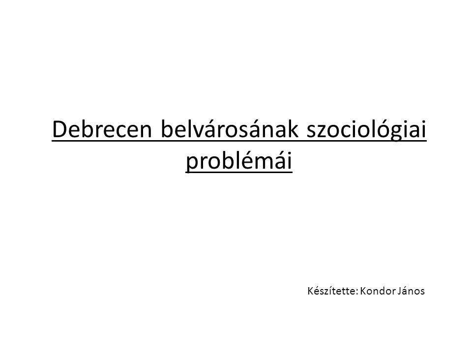 Debrecen belvárosának szociológiai problémái Készítette: Kondor János