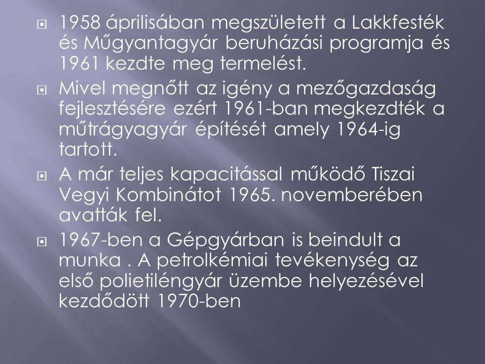1958 áprilisában megszületett a Lakkfesték és Műgyantagyár beruházási programja és 1961 kezdte meg termelést.