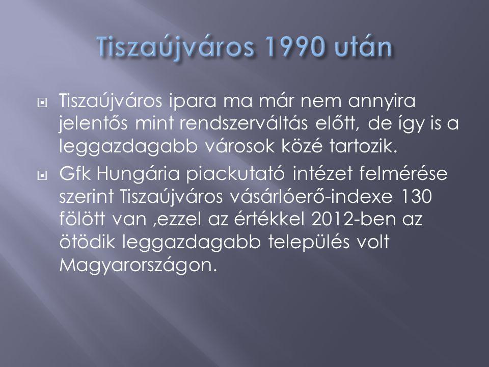 Tiszaújváros 1990 után Tiszaújváros ipara ma már nem annyira jelentős mint rendszerváltás előtt, de így is a leggazdagabb városok közé tartozik.
