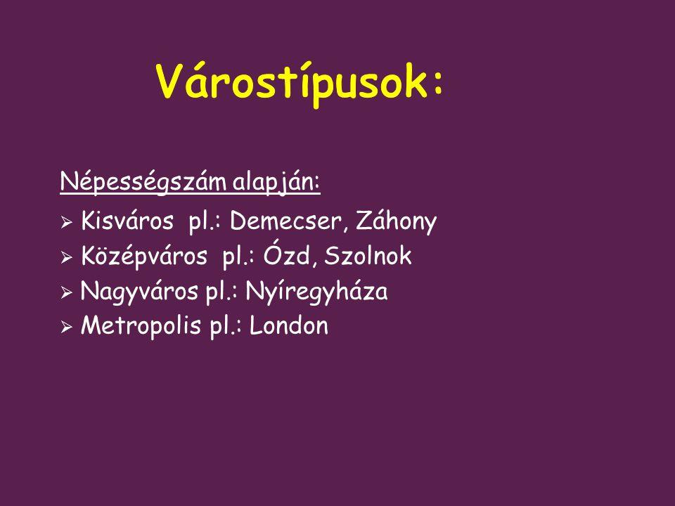 Várostípusok: Népességszám alapján: Kisváros pl.: Demecser, Záhony
