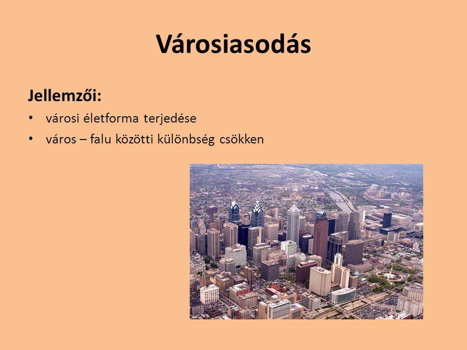 Városiasodás Jellemzői: városi életforma terjedése