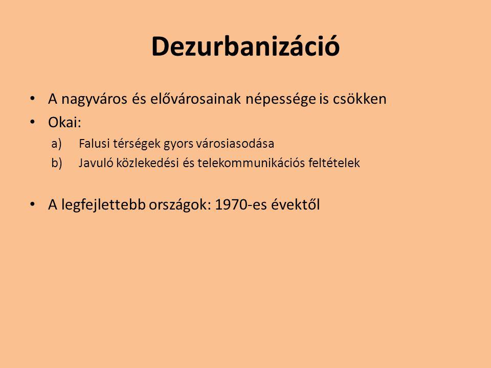 Dezurbanizáció A nagyváros és elővárosainak népessége is csökken Okai: