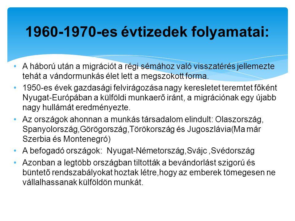 1960-1970-es évtizedek folyamatai: