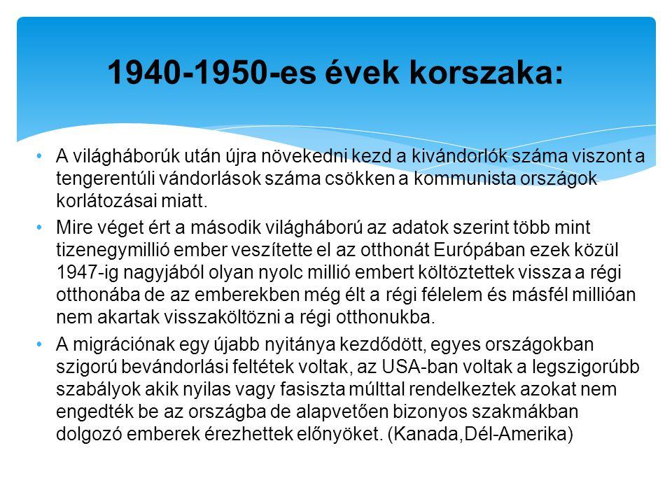 1940-1950-es évek korszaka: