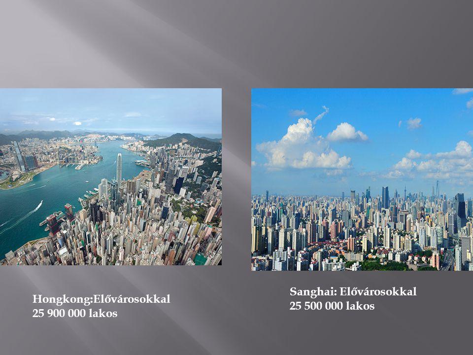 Sanghai: Elővárosokkal 25 500 000 lakos