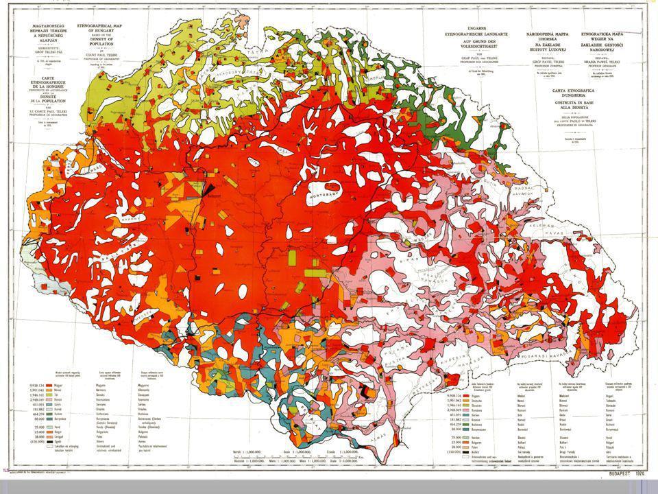 Forrás: wikipédia – Teleki Pál térképe a nemzetiségi eloszlásról a trianoni béketárgyalásokra