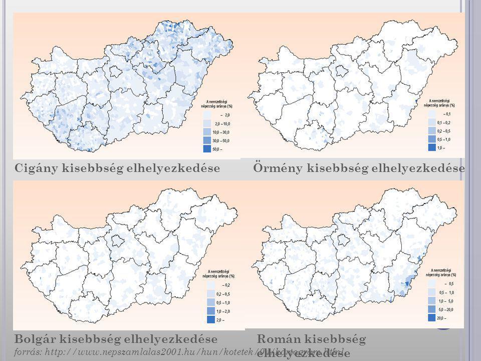 Cigány kisebbség elhelyezkedése Örmény kisebbség elhelyezkedése