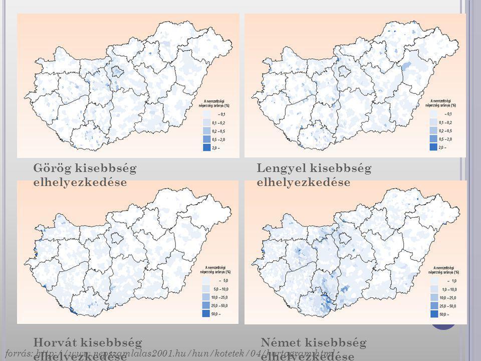 Görög kisebbség elhelyezkedése Lengyel kisebbség elhelyezkedése