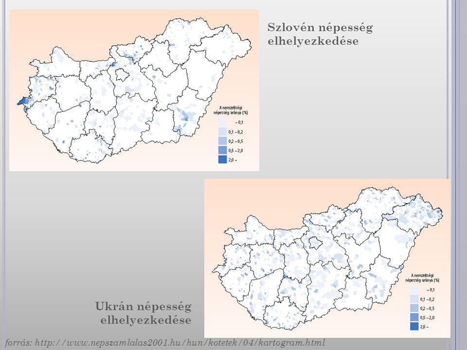 Szlovén népesség elhelyezkedése