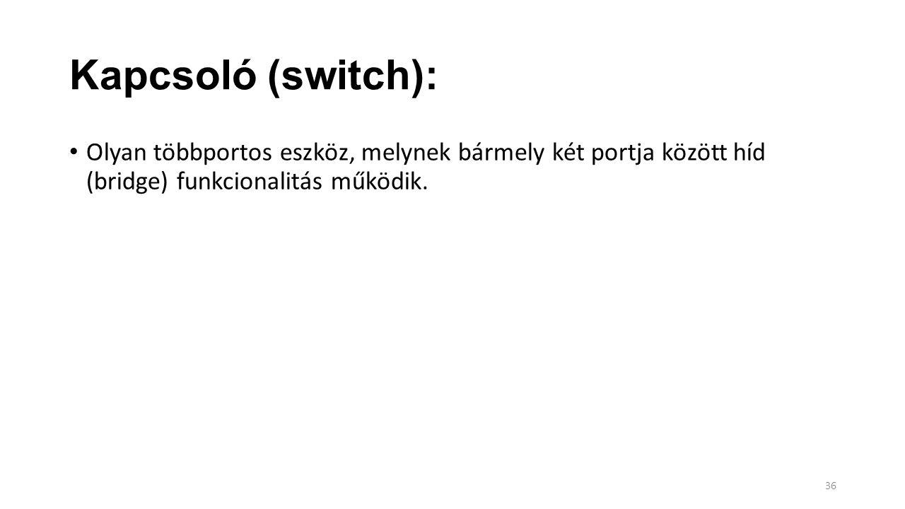 Kapcsoló (switch): Olyan többportos eszköz, melynek bármely két portja között híd (bridge) funkcionalitás működik.