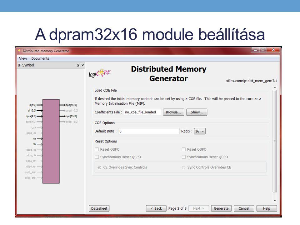 A dpram32x16 module beállítása