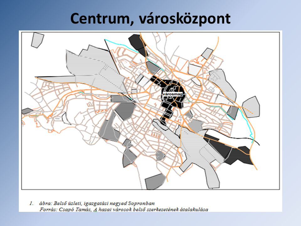 Centrum, városközpont Területe kiterjedt, funkcionálisan egyre inkább tekinthető belső munkahelyi övnek. Két részre tagolható: