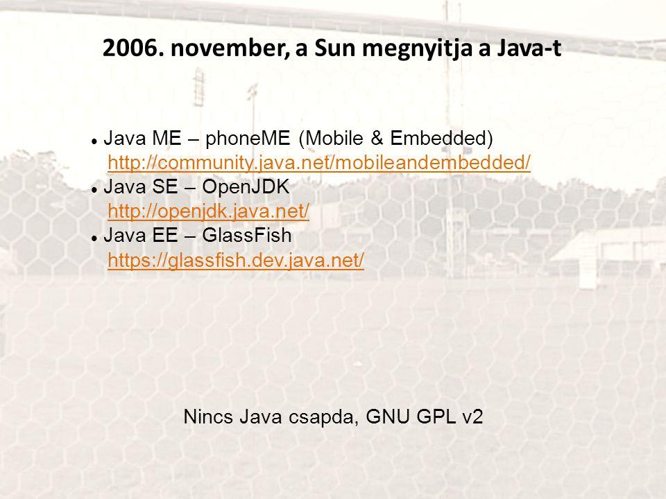 2006. november, a Sun megnyitja a Java-t