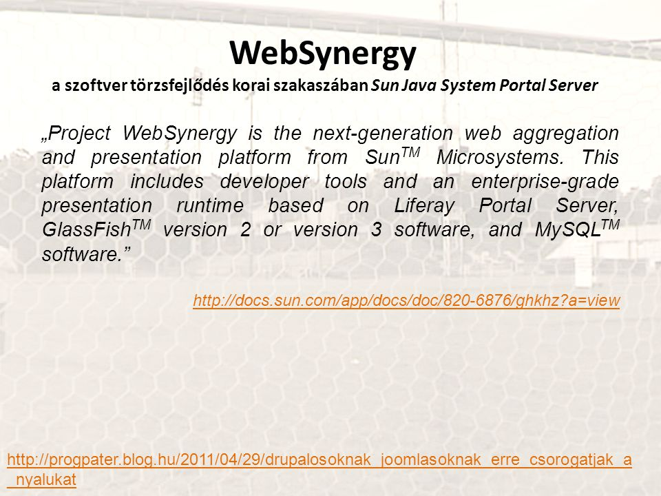 WebSynergy a szoftver törzsfejlődés korai szakaszában Sun Java System Portal Server
