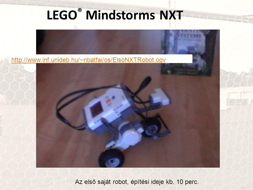 LEGO® Mindstorms NXT http://www.inf.unideb.hu/~nbatfai/os/ElsoNXTRobot.ogv.