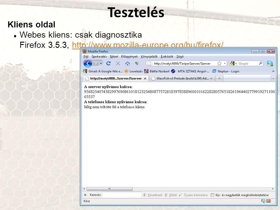 Tesztelés Kliens oldal