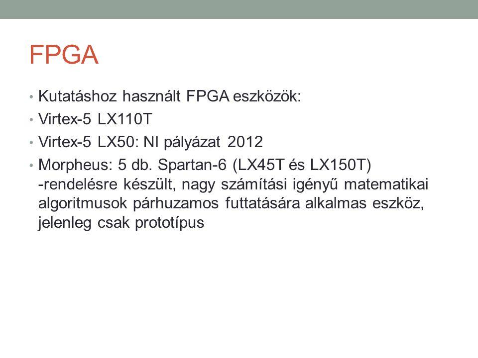 FPGA Kutatáshoz használt FPGA eszközök: Virtex-5 LX110T
