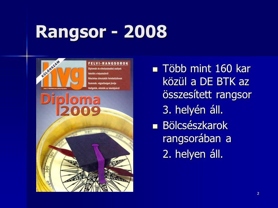 Rangsor - 2008 Több mint 160 kar közül a DE BTK az összesített rangsor