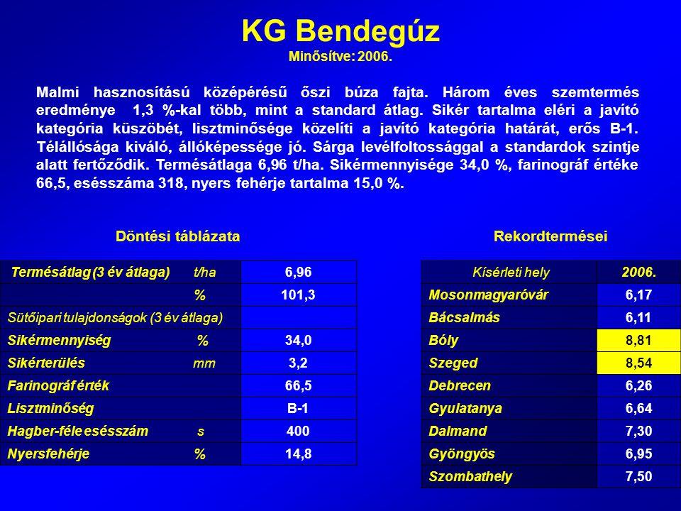 KG Bendegúz Minősítve: 2006.
