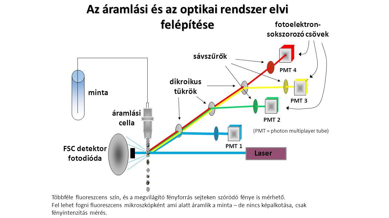 Az áramlási és az optikai rendszer elvi felépítése