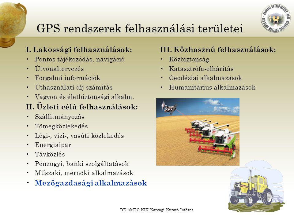 GPS rendszerek felhasználási területei