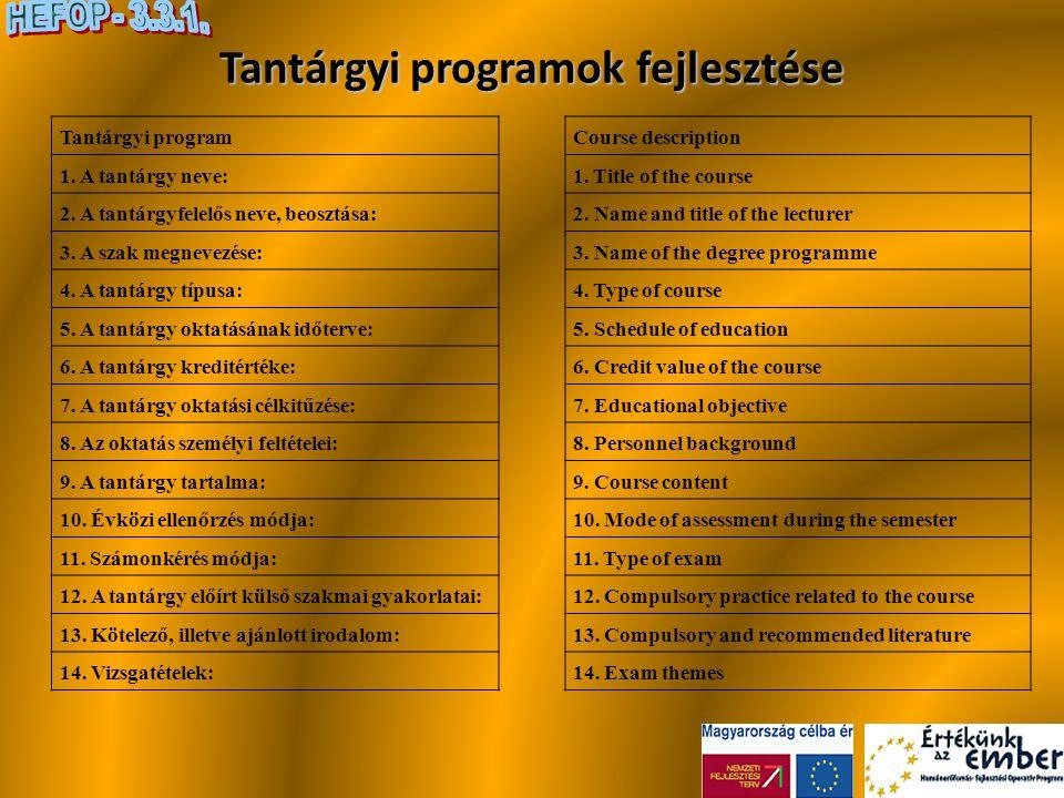 Tantárgyi programok fejlesztése
