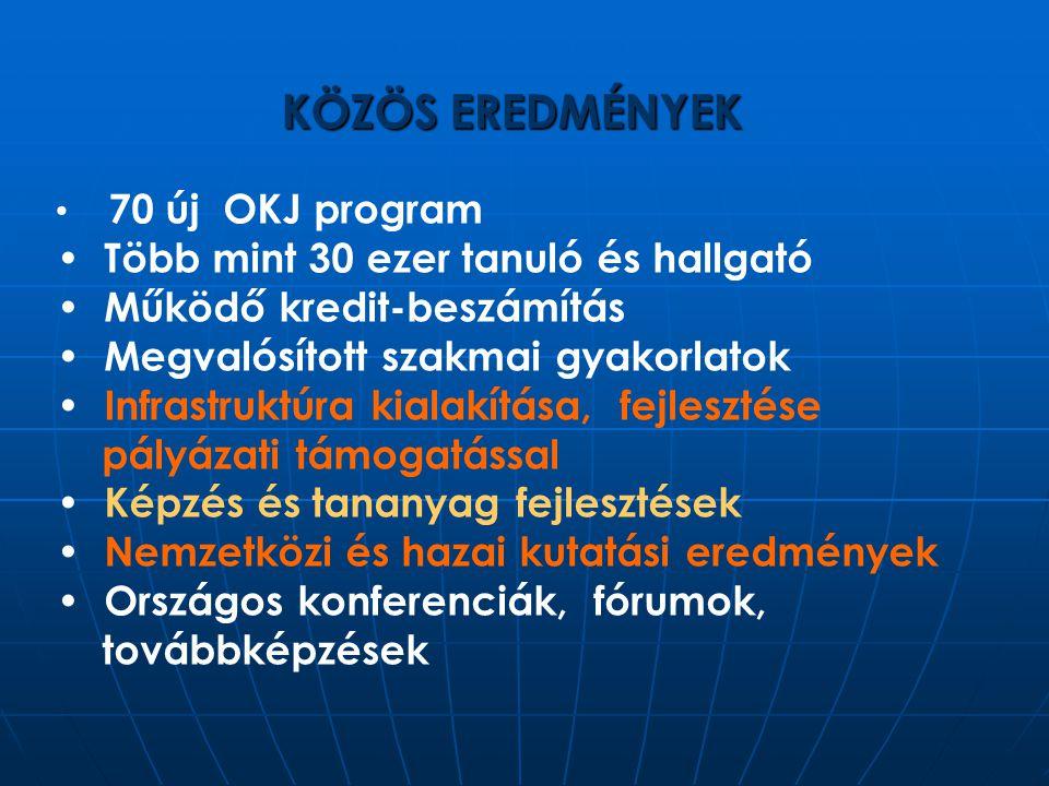 KÖZÖS EREDMÉNYEK 70 új OKJ program