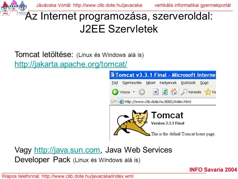 Az Internet programozása, szerveroldal: J2EE Szervletek