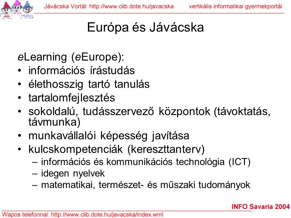 Európa és Jávácska eLearning (eEurope): információs írástudás