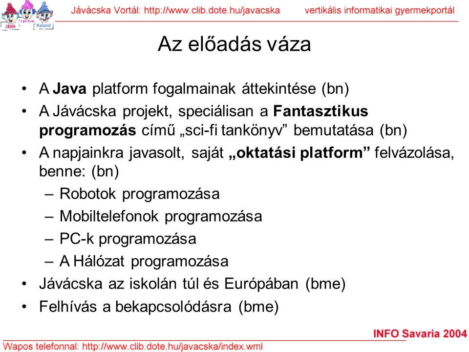 Az előadás váza A Java platform fogalmainak áttekintése (bn)