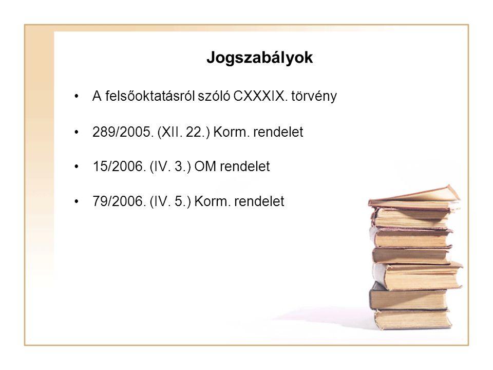 Jogszabályok A felsőoktatásról szóló CXXXIX. törvény