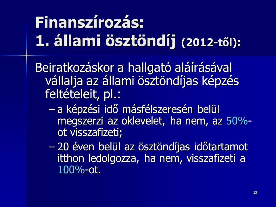 Finanszírozás: 1. állami ösztöndíj (2012-től):