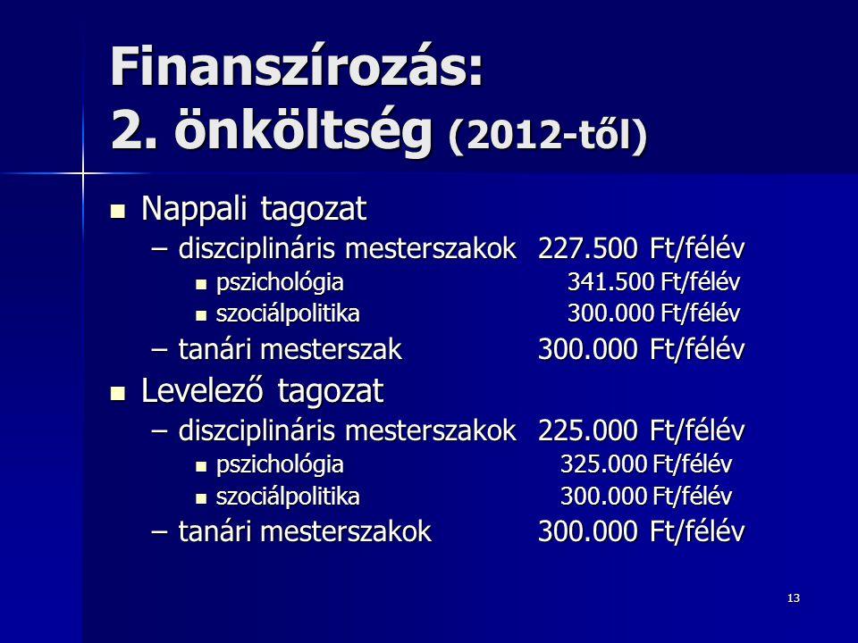 Finanszírozás: 2. önköltség (2012-től)