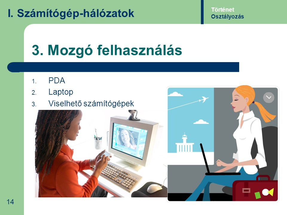 3. Mozgó felhasználás I. Számítógép-hálózatok PDA Laptop