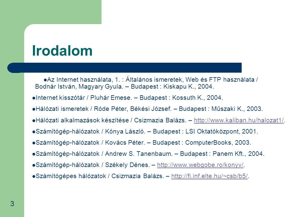 Irodalom Az Internet használata, 1. : Általános ismeretek, Web és FTP használata / Bodnár István, Magyary Gyula. – Budapest : Kiskapu K., 2004.