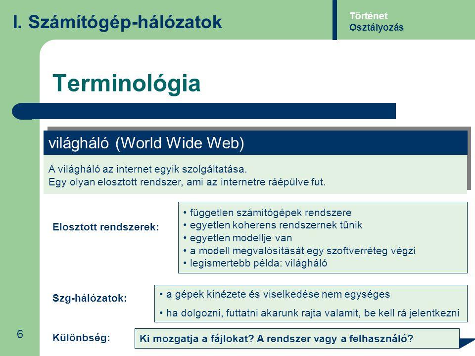 Terminológia I. Számítógép-hálózatok világháló (World Wide Web) 6