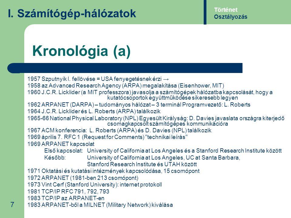 Kronológia (a) I. Számítógép-hálózatok 7 Történet Osztályozás