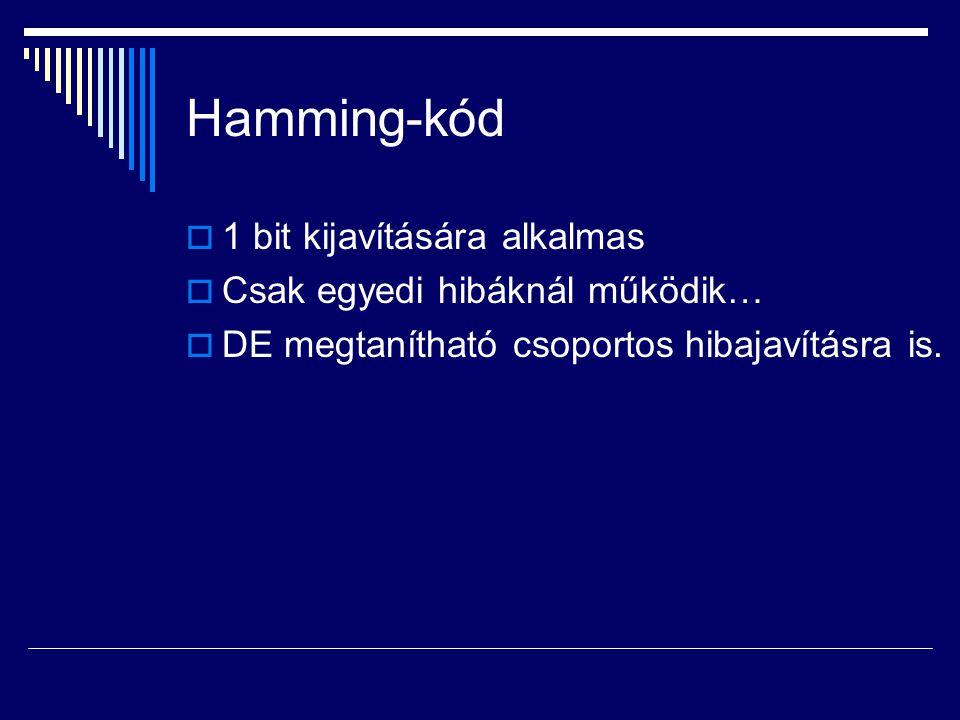 Hamming-kód 1 bit kijavítására alkalmas Csak egyedi hibáknál működik…