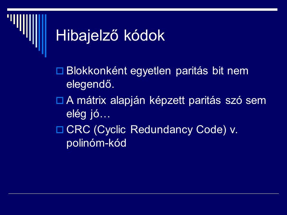 Hibajelző kódok Blokkonként egyetlen paritás bit nem elegendő.