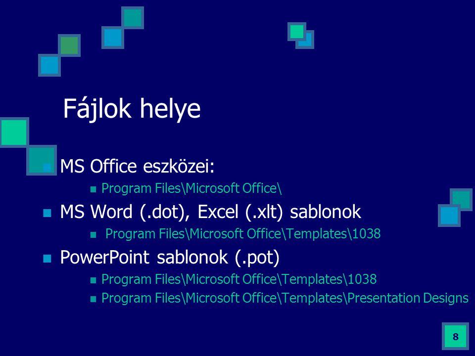 Fájlok helye MS Office eszközei: MS Word (.dot), Excel (.xlt) sablonok
