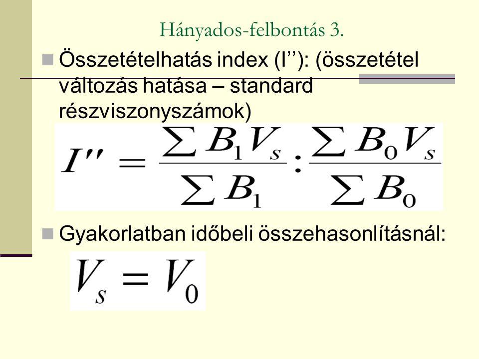 Hányados-felbontás 3. Összetételhatás index (I''): (összetétel változás hatása – standard részviszonyszámok)