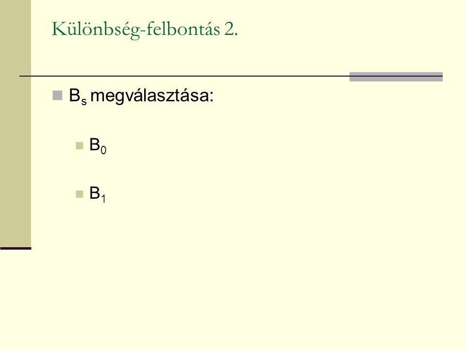 Különbség-felbontás 2. Bs megválasztása: B0 B1
