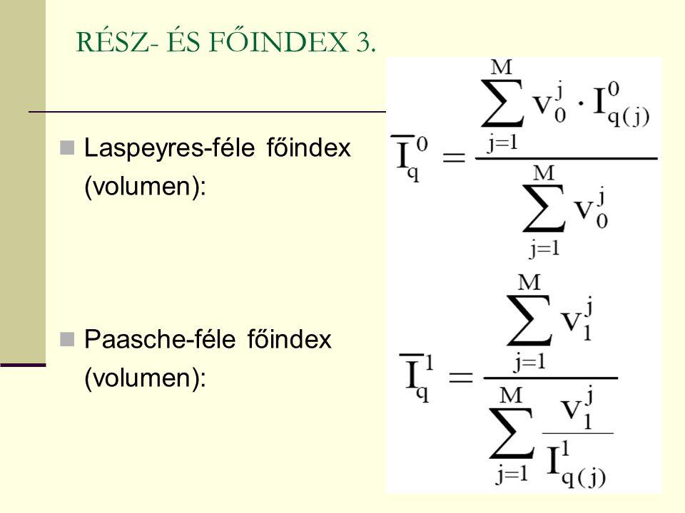 RÉSZ- ÉS FŐINDEX 3. Laspeyres-féle főindex (volumen):