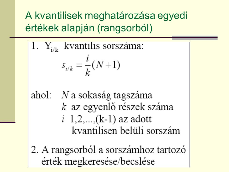A kvantilisek meghatározása egyedi értékek alapján (rangsorból)