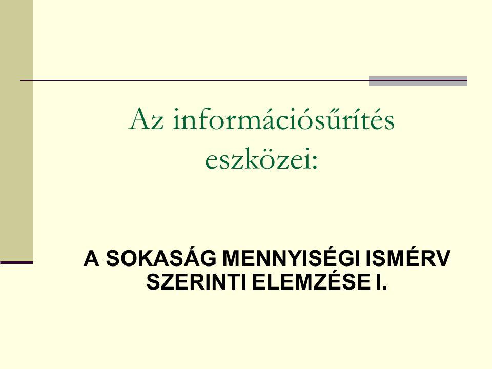 A SOKASÁG MENNYISÉGI ISMÉRV SZERINTI ELEMZÉSE I.