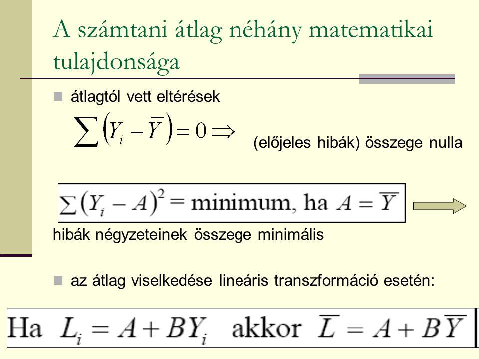 A számtani átlag néhány matematikai tulajdonsága