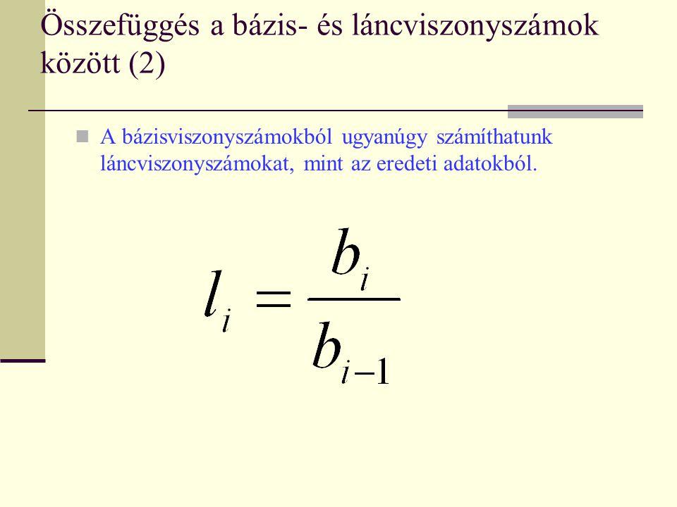 Összefüggés a bázis- és láncviszonyszámok között (2)