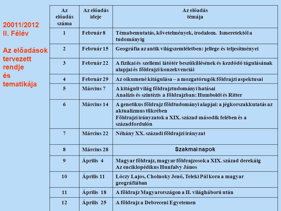 20011/2012 II. Félév Az előadások tervezett rendje és tematikája