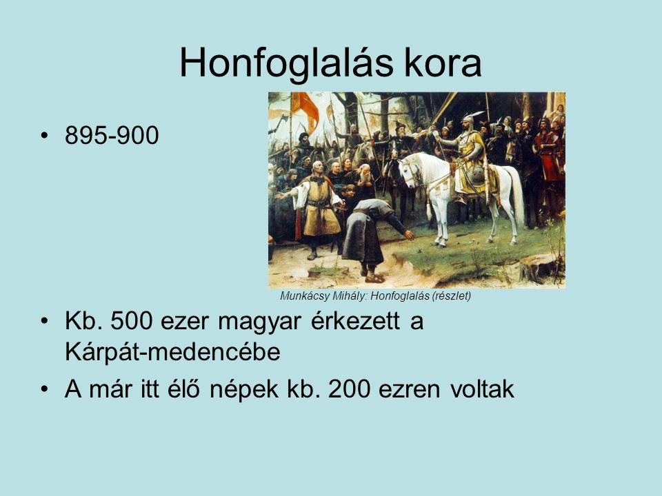 Honfoglalás kora 895-900. Kb. 500 ezer magyar érkezett a Kárpát-medencébe. A már itt élő népek kb. 200 ezren voltak.